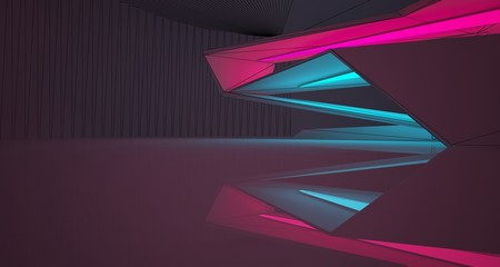 Abstract architectural drawing white interior of a minimalist house with color gradient neon lighting. 3D illustration and rendering.