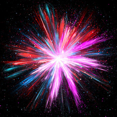 Explosion of pink, blue and red powder