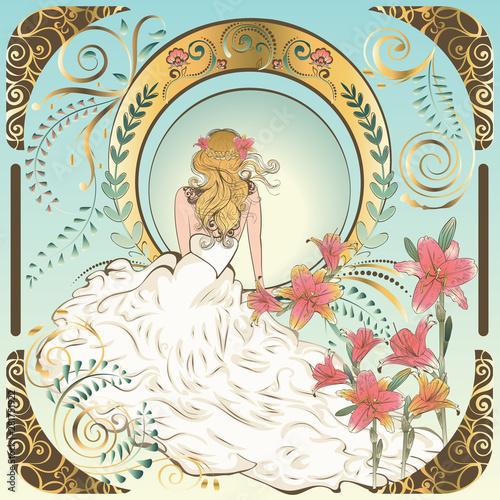 Art nouveau bride Wall mural