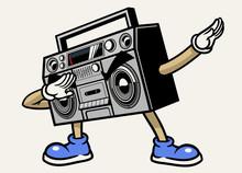 Retro Boombox  Stereo Tape Mascot Character Dabbing Pose