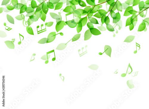 Fotografía  緑の葉と音符 木漏れ日イメージ