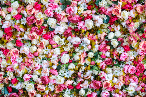 Fotobehang Lente Peonies Flowers Background. Colorful background. Many flowers.