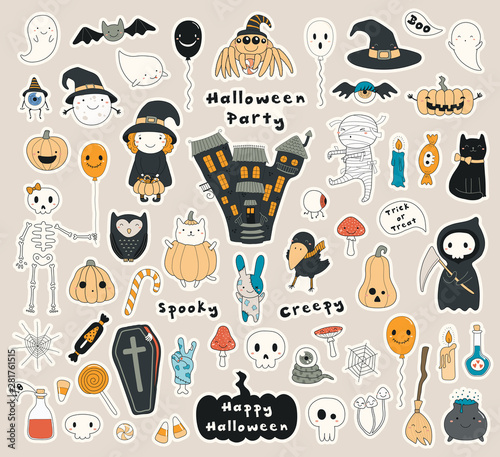 Big set of Halloween stickers with kawaii characters, haunted house, pumpkins, ghosts, skulls, candy. Isolated objects. Hand drawn vector illustration. Line drawing. Design concept for holiday print. Fototapete