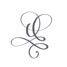 Vector Hand Drawn Calligraphic Floral Q Monogram Or Logo. Uppercase Hand Lettering Letter Q With Swirls And Curl. Wedding Floral Design