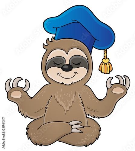 Foto auf AluDibond Für Kinder Sloth teacher theme image 1