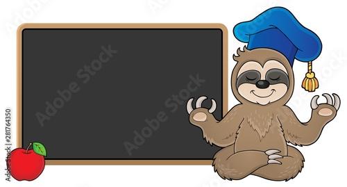 Foto auf AluDibond Für Kinder Sloth teacher theme image 2