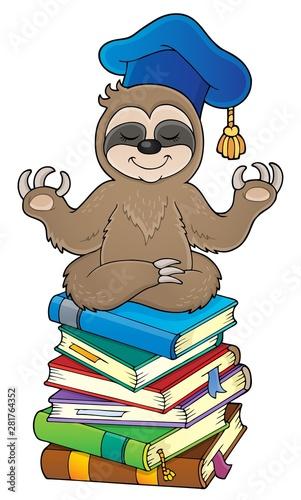 Foto auf AluDibond Für Kinder Sloth teacher theme image 3