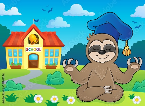 Poster de jardin Enfants Sloth teacher theme image 4