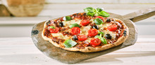 Margherita Pizza With Tomato, Olives And Basil