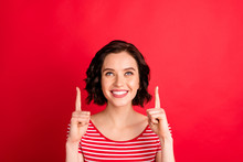 Close-up Portrait Of Her She Nice-looking Attractive Lovely Cheerful Cheery Glad Content Wavy-haired Lady Pointing Two Forefingers Up Cool Ad Advert Isolated Over Bright Vivid Shine Red Background
