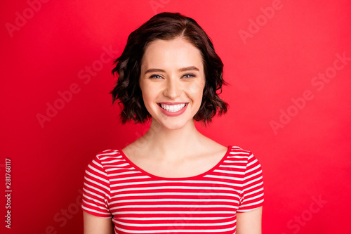 Fotografie, Tablou  Portrait of cute beautiful wavy curly girl smiling at you while isolated with br