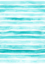 Turquoise Seamless Striped Pat...