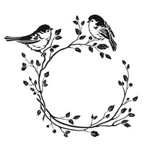 Silhouette Of Wreath With Birds Sitting On Branches. Vector Floral Illustration On White Background In Vintage Style.