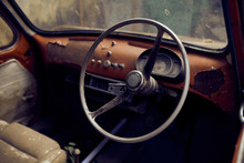 Interior Of An Old Vintage Car Wreck