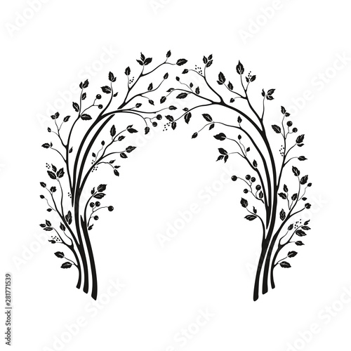 Beautiful wedding arch with tree branches and leaves Canvas Print