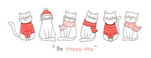 Draw Banner Cute Cat For Christmas Day And New Year.