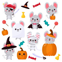 Vector Set Of Mouse Characters, Halloween Kawaii Cartoon Style. Rats Dressed Up In Costumes For Halloween - Ghost, Pirate, Witch, Mummy, Vampire. Mouse With Pumpkin And Candies. Trick And Treat.
