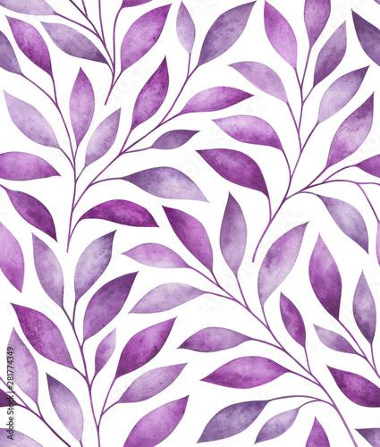 Türaufkleber Künstlich Seamless pattern with stylized tree branches. Watercolor illustration.