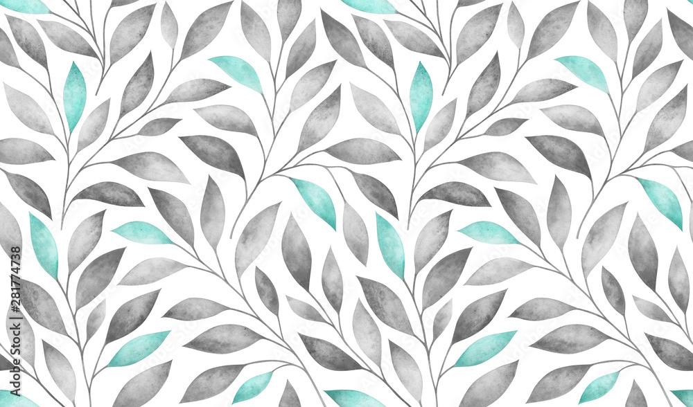 Wzór z stylizowane gałęzie drzew. Akwarela ilustracja