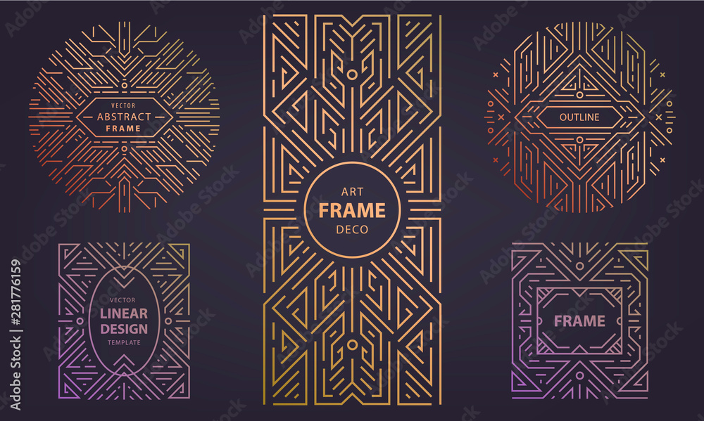 Fototapeta Set of vector Art deco silver borders and frames. Creative templates in style of 1920s, illustration. Trendy cover, graphic poster, packaging and branding.