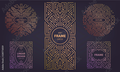 Fotografía  Set of vector Art deco silver borders and frames