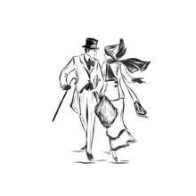 Man And Woman Walk And Talk ,nineteenth Century Style Illustration Of People