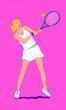 canvas print picture - donna che gioca a tennis su fondo rosa