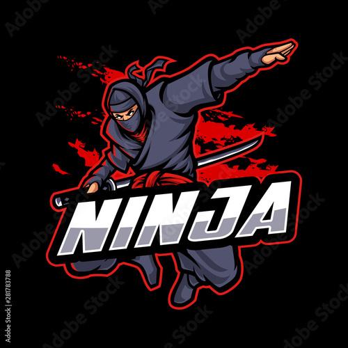Ninja Logo Mascot Character in dark background Wall mural