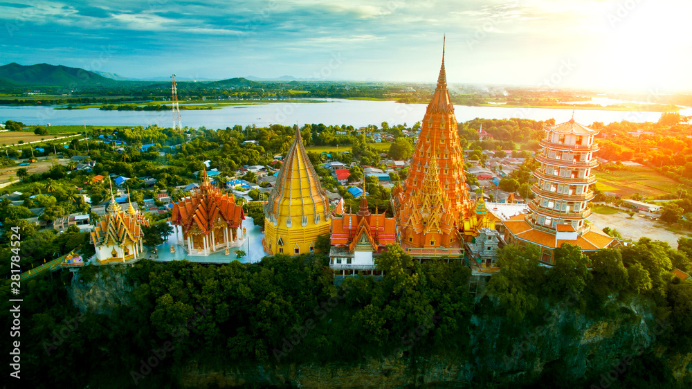 Fototapety, obrazy: high angle view of wat thumsaue kanchanaburi one of most popular traveling destination in thailand
