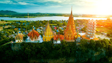 High Angle View Of Wat Thumsaue Kanchanaburi One Of Most Popular Traveling Destination In Thailand