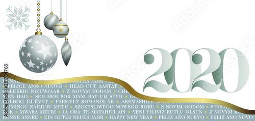 carte de voeux 2020 design Carte de VŒUX 2020 Multi Langues décorée de symboles et de boules