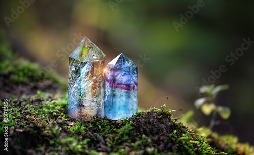Photo gemstones crystal minerals on abstract nature background