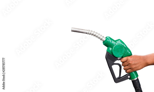 Fotografie, Tablou Hand holding gas nozzle with one last drop