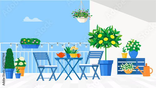 Fototapeta Blue garden furniture on the balcony with pots of flowers and a lemon tree. Vector flat illustration. obraz