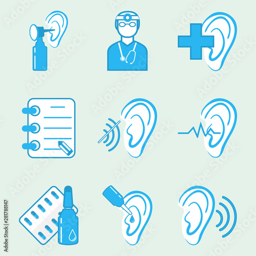 Valokuva  Ear and medicine icons set illustration