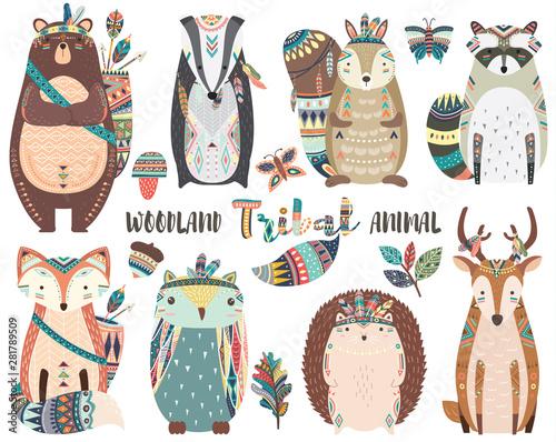 obraz PCV Cute Tribal Woodland Animal Elements