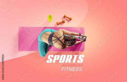 Valokuvatapetti Sport and fitness backgrounds. Stretching. Isolated. Top view.