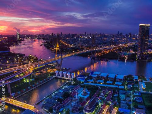 aerial view of bhumibol bridge at dusk in bangkok thailand - 281792199