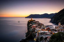 Sunset Above The Terraces Of Vernazza. Vernazza Is One Of The Five Towns That Make Up The Cinque Terre Region. It Is The Only Natural Port Of Cinque Terre And Is Famous For Its Elegant Houses.