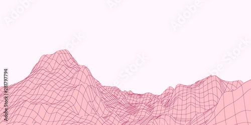 Garden Poster Light pink maroon polygonal mountains on a pink background
