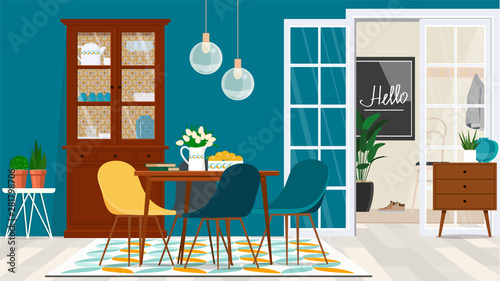 Fototapeta Danish style living room design with wooden furniture against a turquoise wall and a door to the entrance hall. obraz