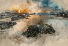 Digital Watercolour Painting Of Stunning Sunset Landscape Image Of Freshwater West Beach On Pembrokeshire Coast In Wales