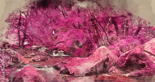 Foto auf AluDibond Hochrote Digital watercolour painting of Beautiful landscape of surreal alternate colored landscape through woodlands