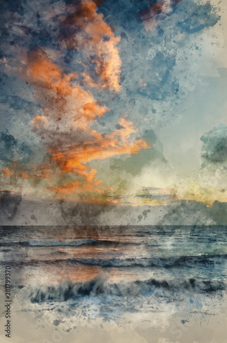 Valokuva  Digital watercolour painting of Stunning vibrant Winter sunset over receding wav
