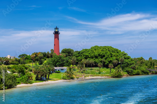 Fototapeta  Beautiful view of the Jupiter lighthouse at sunny summer day in West Palm Beach