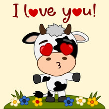 Valentine's Card - Cute Cow With Hearts In His Eyes And Text I Love You