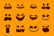 Halloween Monster Jack Lantern Pumpkin Carved Glowing Scary Face Set On Orange Background. Holiday Cartoon Character Collection For Celebration Design. Vector Illustration