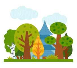 Cartoon illustration for children. Flat summer mixed coniferous forest with green trees