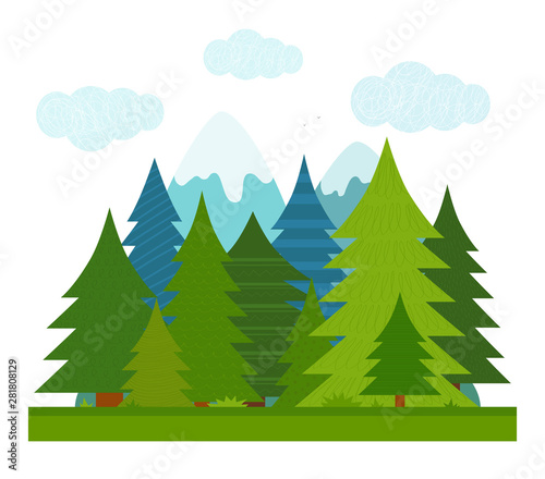 Fotografering Cartoon illustration for children. Flat summer conifer forest