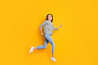 Full length body size photo of excited cheerful girlfriend running towards her dreams while isolated with yellow background